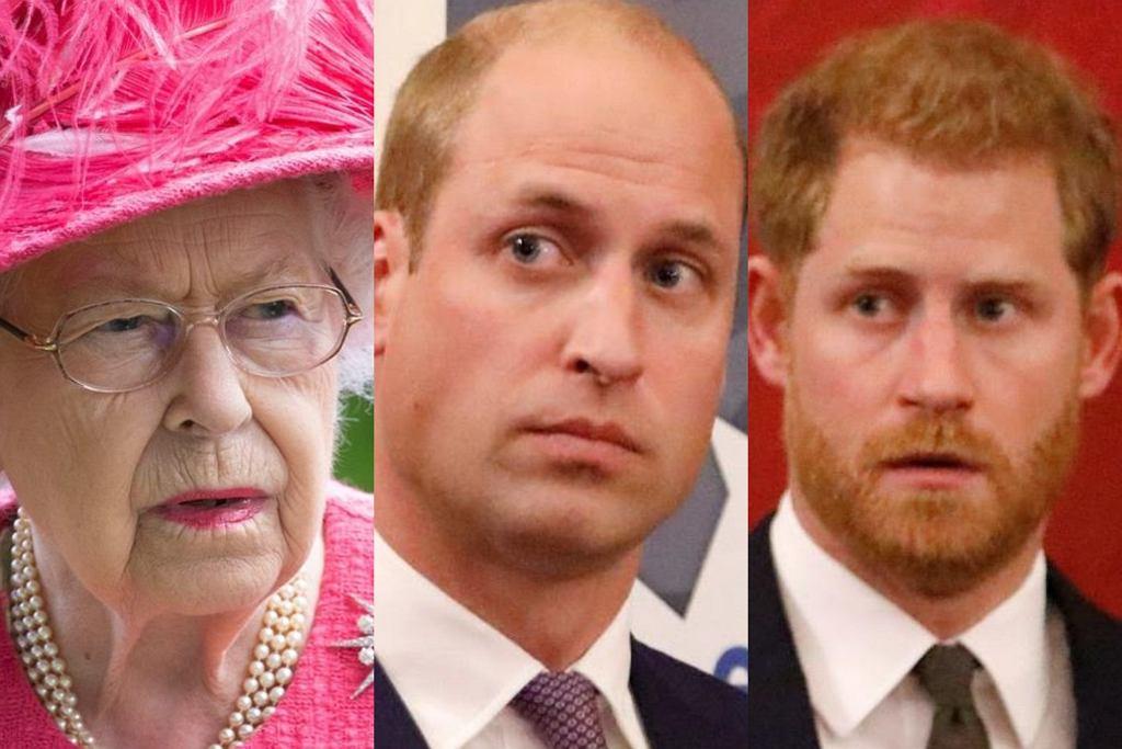 królowa Elżbieta II, książę William książę Harry