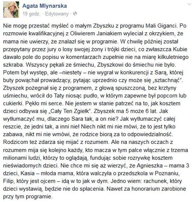 Wpis na profilu Agaty Młynarskiej