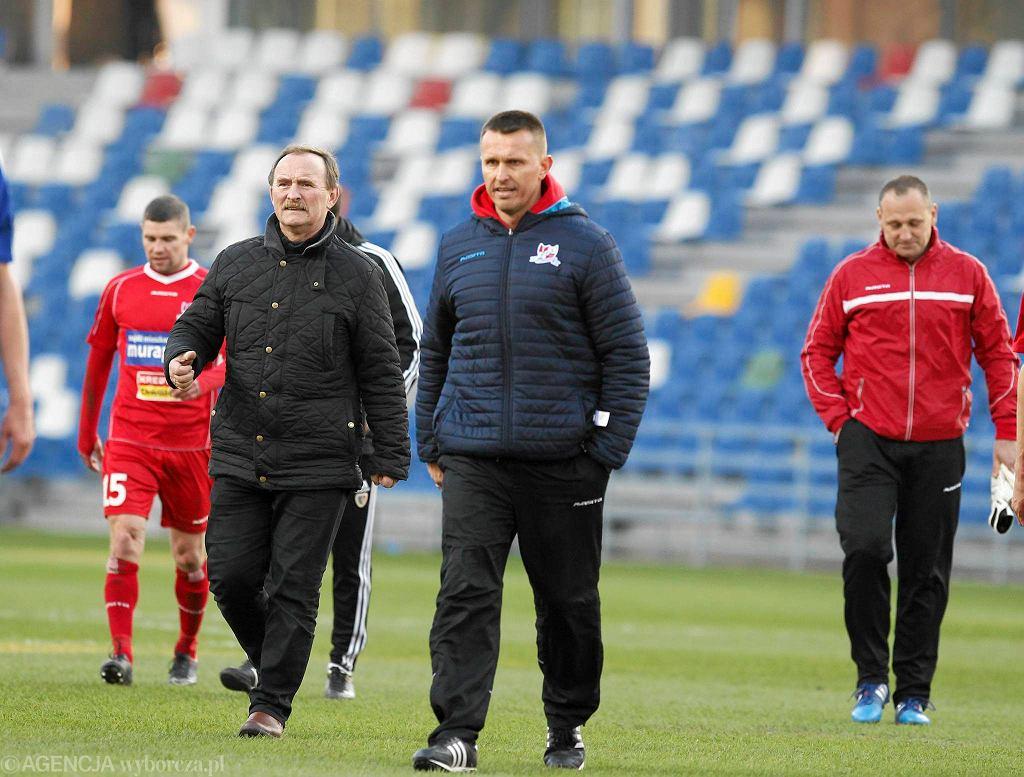Leszek Ojrzyński podczas meczu Podbeskidzie Bielsko-Biała - Piast Gliwice 1:0