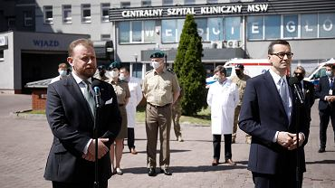 Konferencja premiera Morawieckiego oraz ministra Szumowskiego i Kamińskiego w szpitalu MSWiA w Warszawie, 2 czerwca 2020