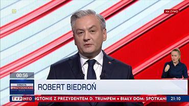 Robert Biedroń podczas Debaty Prezydenckiej w TVP