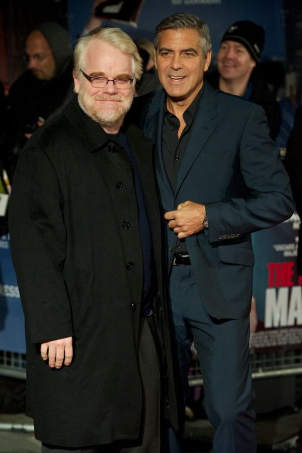 LONDON, UNITED KINGDOM OCTOBER 19 : Pic Shows Philip Seymour Hoffman and George Clooney attending the UK Premier for the film The Ides of March for the London Film Festival on October, 19th, 2011 in London, England