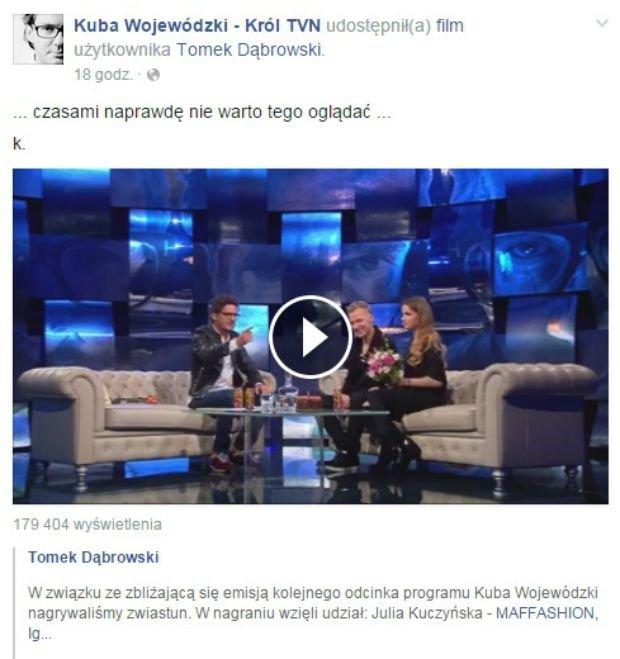 Wpis z Facebooka Kuby Wojewódzkiego