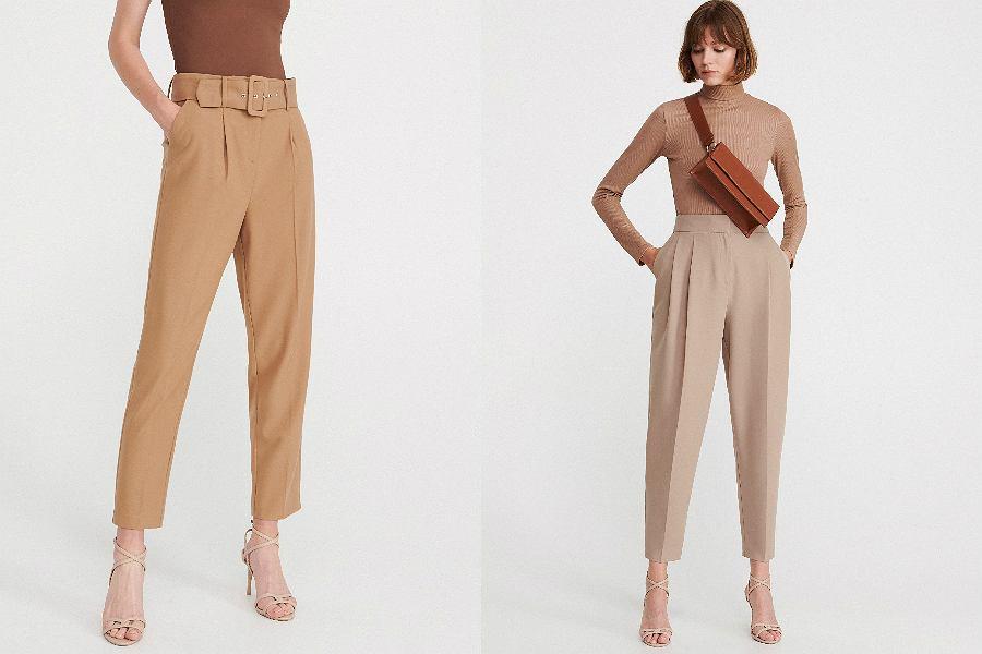 beżowe spodnie z wysokim stanem