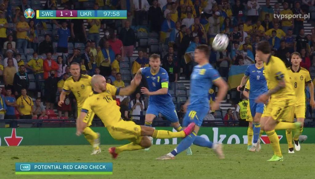 Marcus Danielson i brutalny faul na Artemie Besedinie. Euro 2020 Źródło: TVP SPORT TRANSMISJA