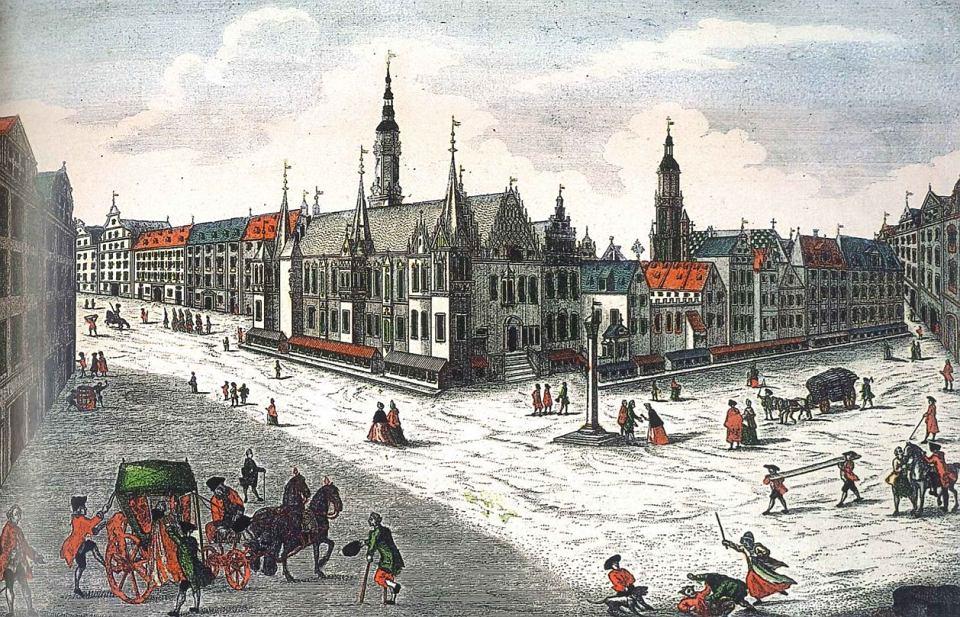 Ratusz i blok śródrynkowy po 1755 roku, grafika według rysunku Friedricha Bernharda Wernera