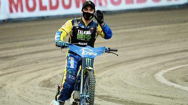 20-letni żużlowiec Stali Gorzów Wiktor Jasiński podczas rund cyklu Grand Prix, na stadionie im. Edwarda Jancarza, wrzesień 2020 r.