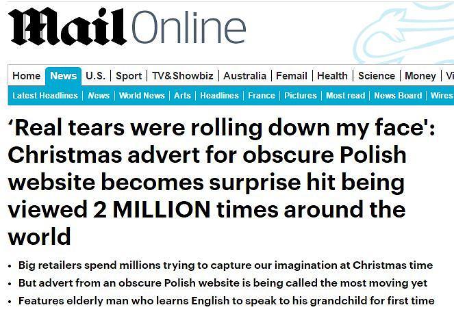 Nagłówek z Daily Mail.co.uk