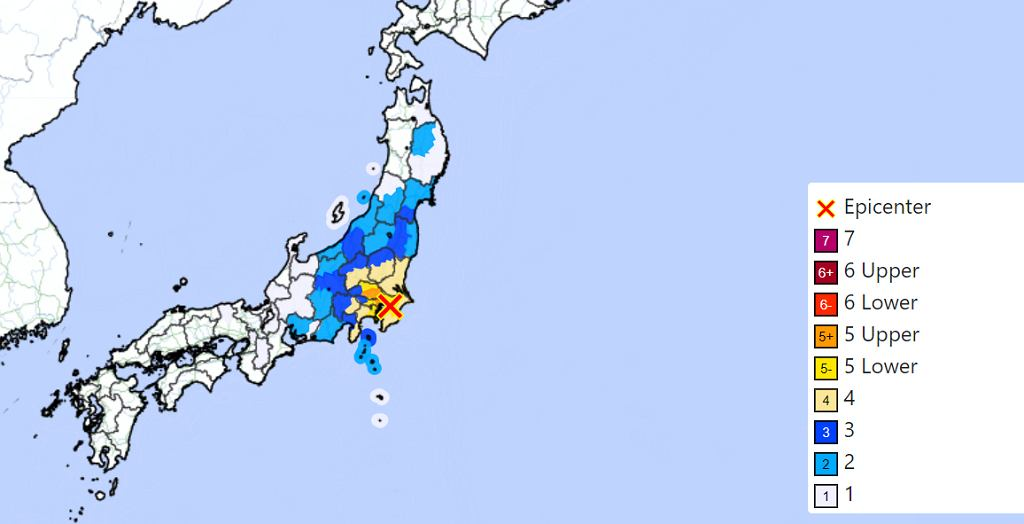 Trzęsienie ziemi w Japonii - mapa