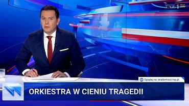 'Wiadomości' TVP z 12 stycznia 2020 roku - materiały o Pawle Adamowiczu i WOŚP