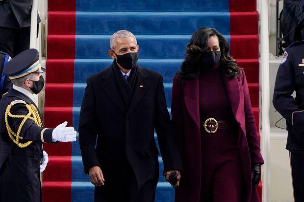 Inauguracja 46. prezydenta USA. Były prezydent Barack Obama z żoną Michelle przybywają na uroczystość