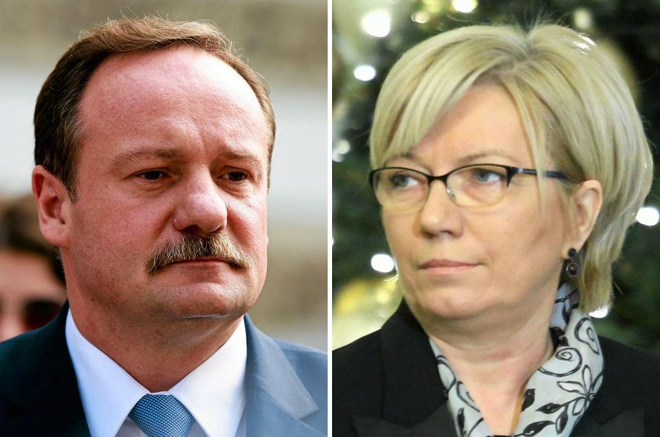 Wybrani przez PiS sędziowie Julia Przyłębska i Piotr Pszczółkowski (n/z) zastrajkowali - odmówili wejścia na salę rozpraw. Trybunał w pełnym składzie miał osądzić przepisy o wyborze kandydatów na prezesa TK. Zbuntowani sędziowie oświadczyli dziennikarzom, że nie wezmą udziału w rozprawie, bo powinno w niej uczestniczyć 15 sędziów, a więc także 3 pozostałych, wybranych przez PiS i zaprzysiężonych przez prezydenta. Tych, których PiS wybrał na zajęte już miejsca, a Trybunał orzekł 9 grudnia, że ich wybór nie wywołał skutków prawnych (a więc nie zostali skutecznie wybrani)