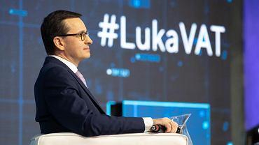 Szef rządu w 2019 r. wziął udział w konferencji poświęconej luce w VAT na Stadionie PGE Narodowy, gdzie mówił o ściągalności podatku VAT, CIT i sprawności instytucji państwa.