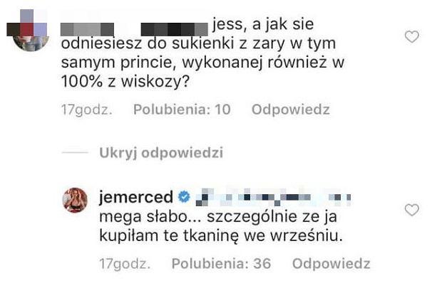 Komentarze na profilu Jessici Mercedes