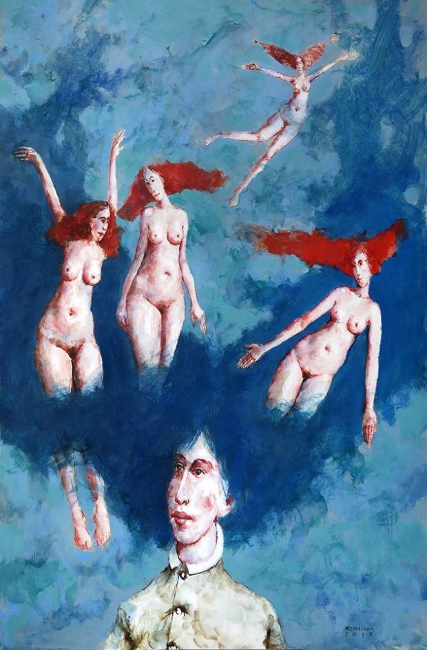 Jeden z obrazów Waldemara J. Marszałka na wystawie 'Maluję w tonacji Dur'