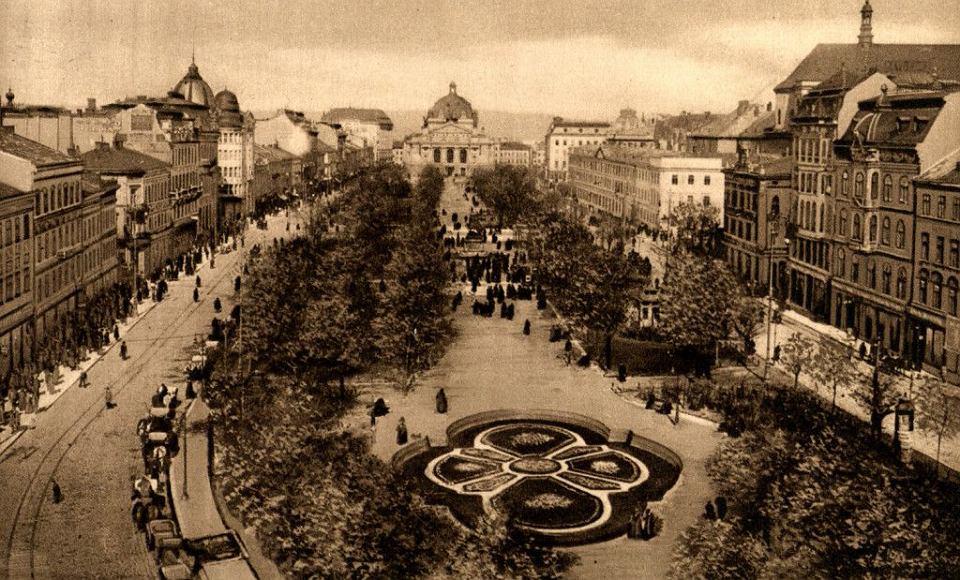 Widok na Wały Hetmańskie na początku XX w. (dziś aleja Wolności), jedną z najważniejszych promenad Lwowa