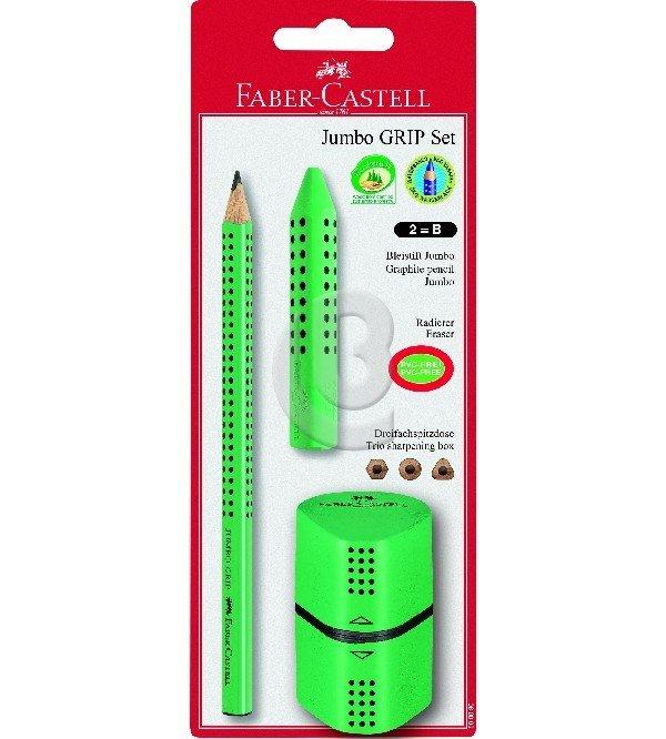 Ołówek Jumbo Grip Faber-Castell z temperówką i gumką