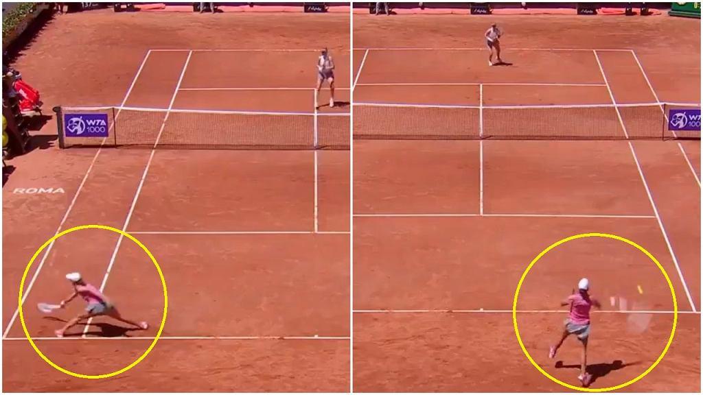 Świetna wymiana Igi Świątek w meczu I rundy turnieju WTA w Rzymie przeciwko Alison Riske