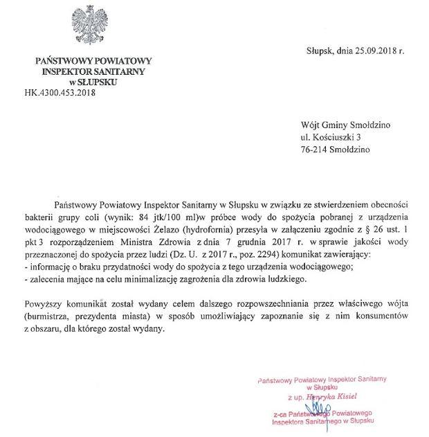 W gminie Smołdzino na Pomorzu obowiązuje zakaz spożywania wody z kranu