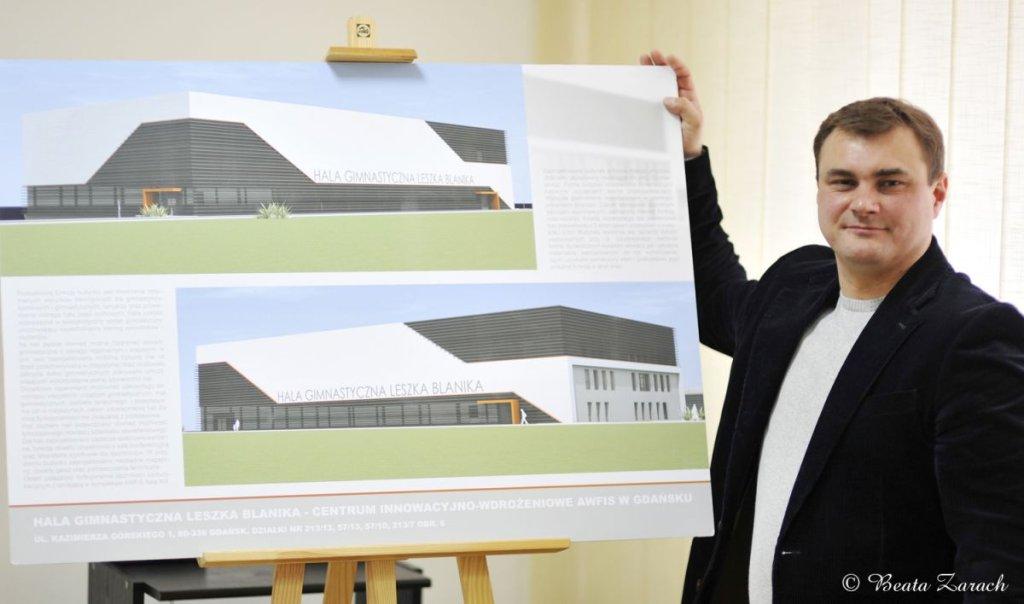 Leszek Blanik prezentuje projekt hali własnego imienia