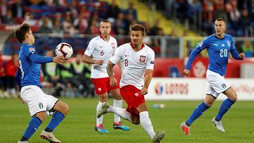 Karol Linetty podczas meczu Polska - Włochy (Liga Narodów). Chorzów, Stadion Śląski, 14 października 2018