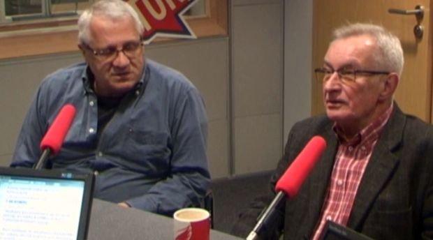 Prof. Wiesław Władyka i Tomasz Wołek w studiu radia TOK FM