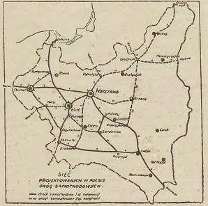 Sieć przedwojennych autostrad opublikowana w 1939 roku w czasopiśmie 'Drogowiec'.