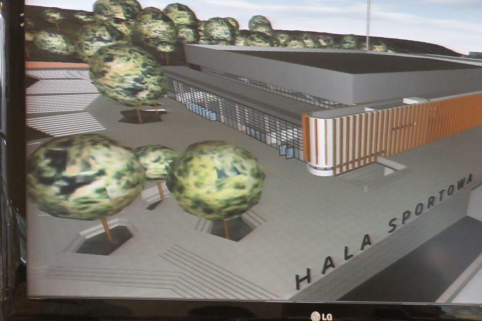 Prezentacja koncepcji architektonicznej nowej hali sportowej przy ul. Słowiańskiej z udziałem prezydenta miasta Jacka Wójcickiego oraz prezes CSR Słowianka Joanny Kasprzak-Perki