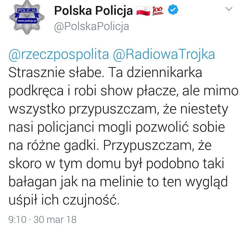 Tweet Komendy Policji