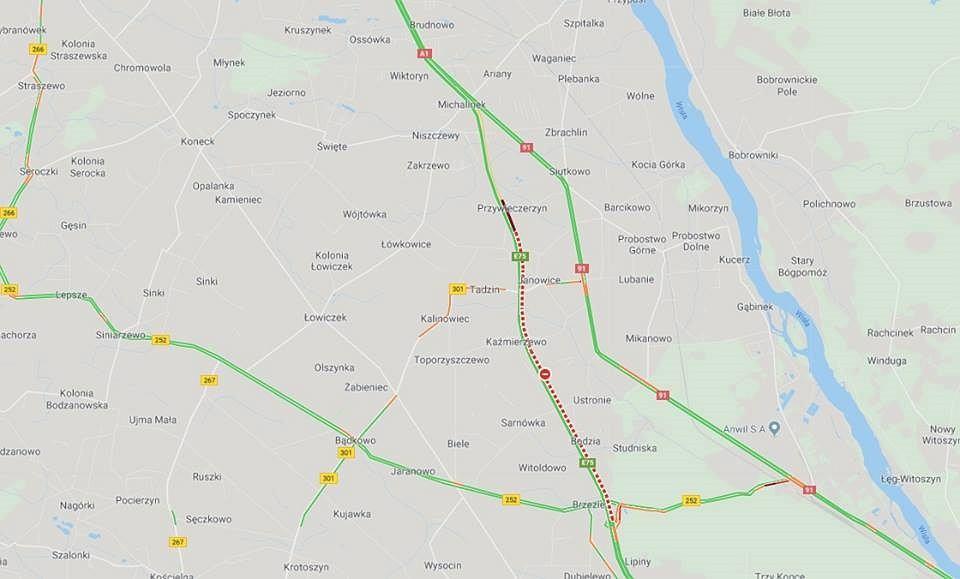Wypadek na autostradzie A1 niedaleko Aleksandrowa Kujawskiego. Droga do Torunia zablokowana
