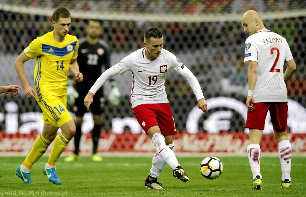 Eliminacje mistrzostw świata 2018. Polska - Kazachstan 3:0, przy piłce Piotr Zieliński