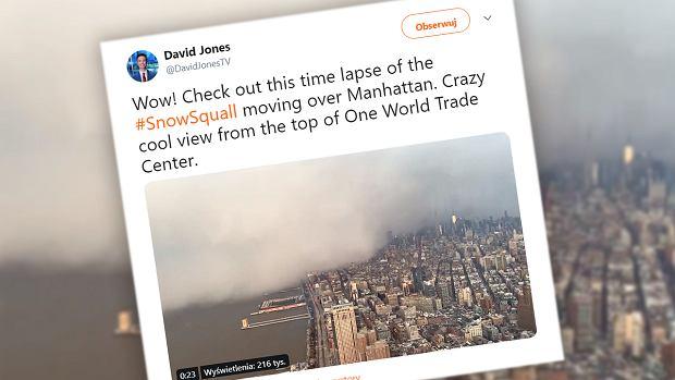 Nawałnica śnieżna w Nowym Jorku. Ogromne miasto zniknęło w wielkiej chmurze