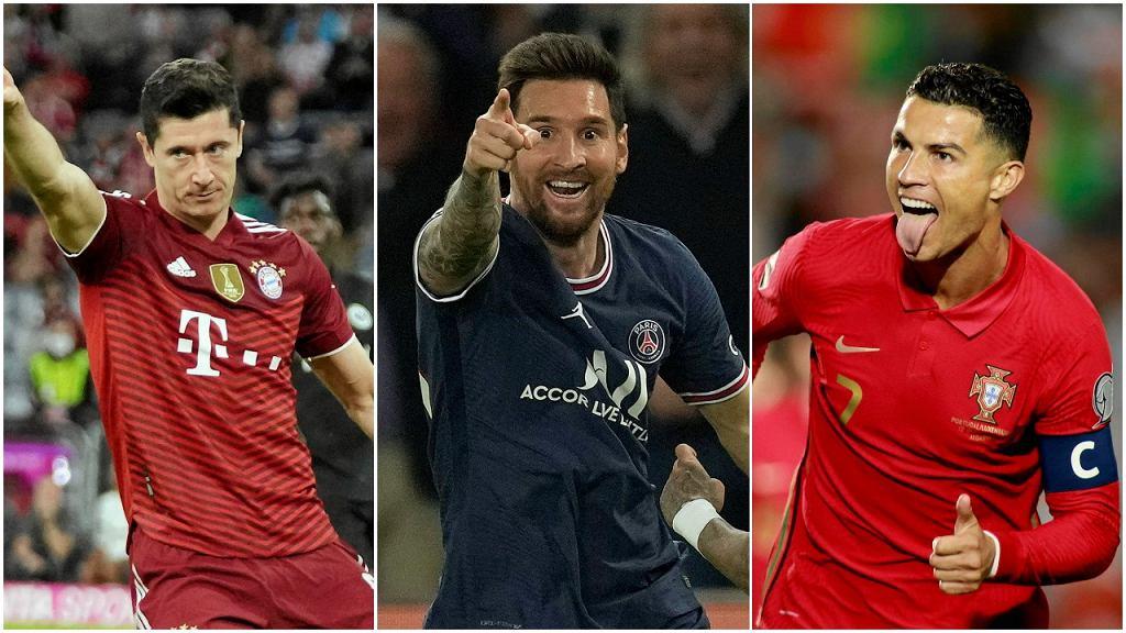 Robert Lewandowski, Lionel Messi i Cristiano Ronaldo