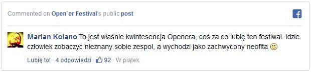 Facebook - profil Open'er Festival