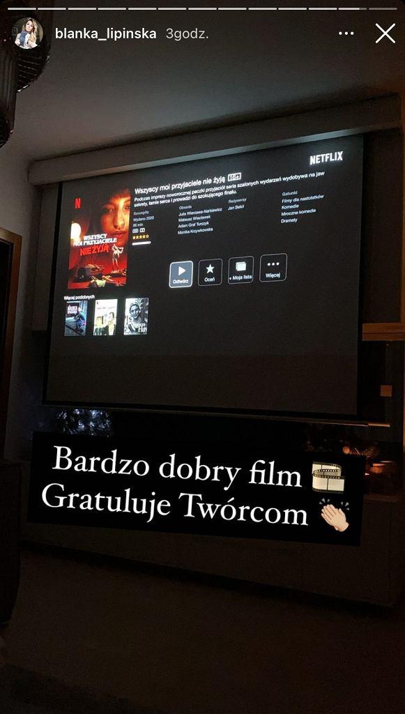 Screen z InstaStory Blanki Lipińskiej