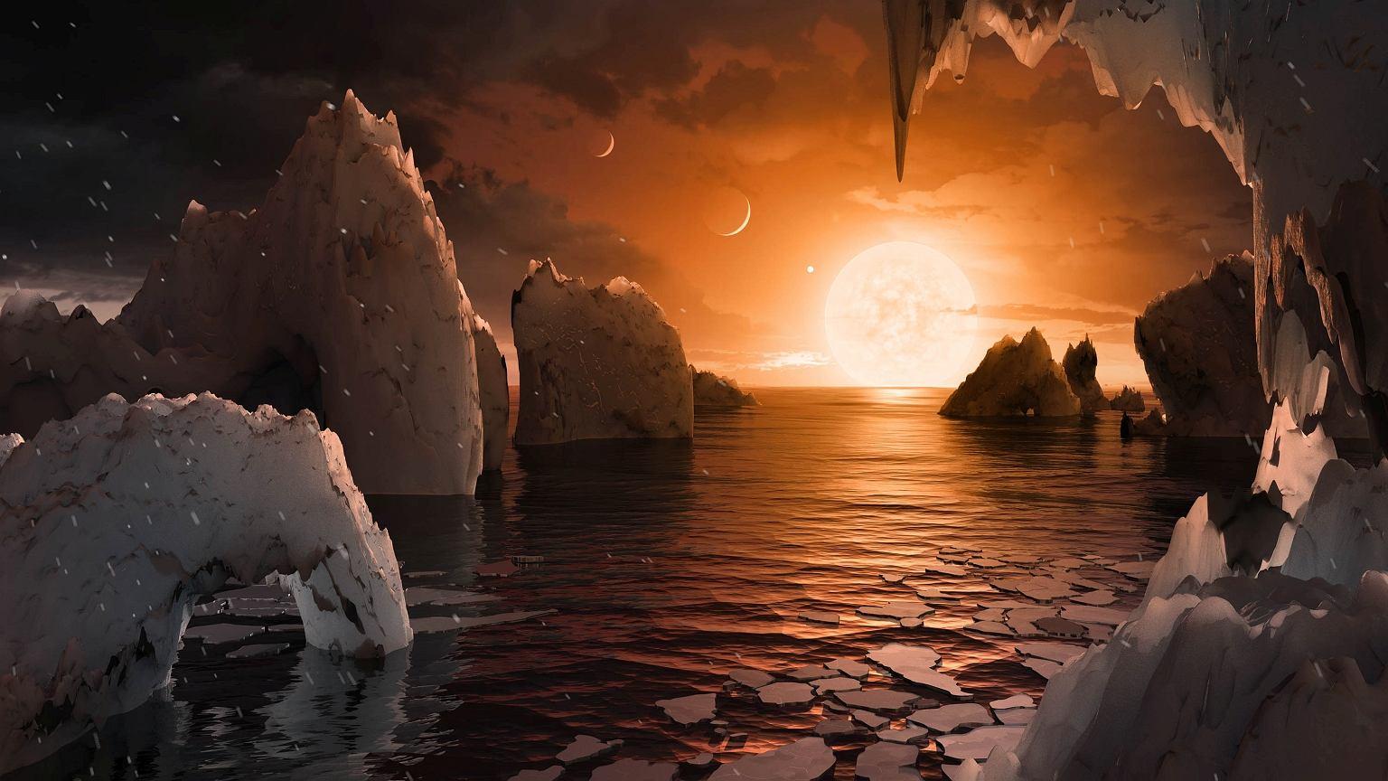 Artystyczna wizja powierzchni planety Trappist-1f w systemie Trappist-1 w gwiazdozbiorze Wodnika