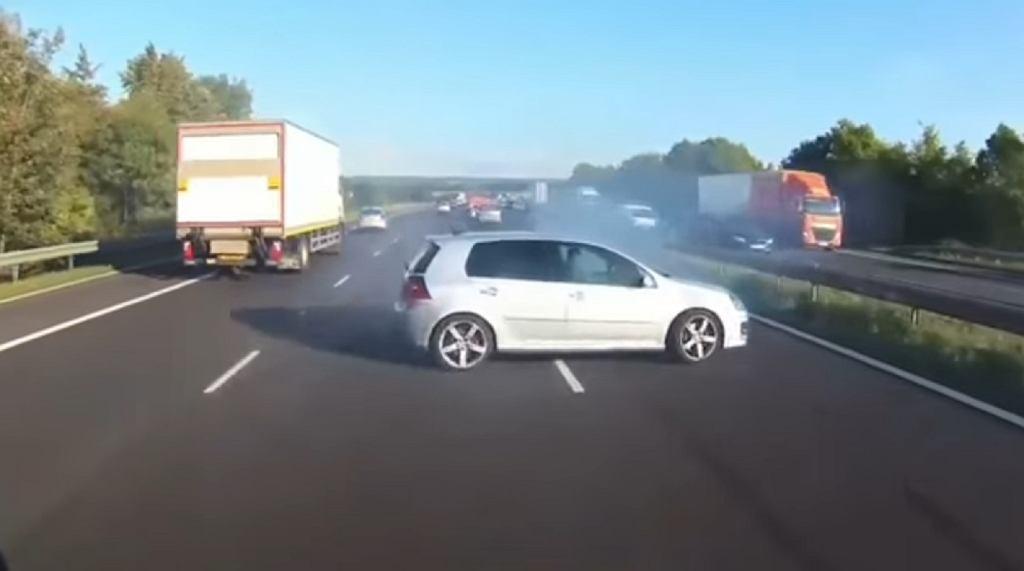 Dramatyczne chwile na autostradzie