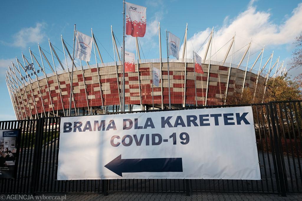Covidowy szpital tymczasowy na Stadionie Narodowym. Warszawa, 5 listopada 2020
