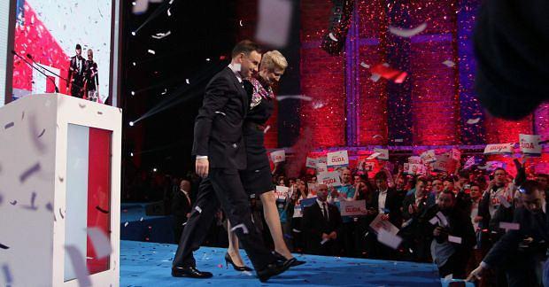 Andrzej Duda z żoną podczas konwencji wyborczej