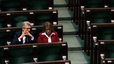 Stanisław Piotrowicz i Beata Mazurek podczas pierwszego czytania projektu ustawy o Sadzie Najwyższym