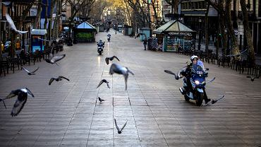 Pusta La Rambla podczas pandemii, Barcelona, 15 marca 2020.