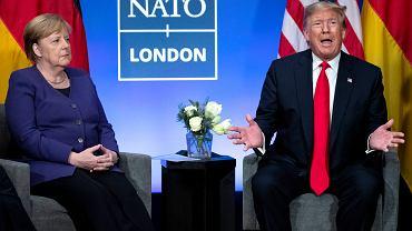 Donald Trump i Angela Merkel na szczycie NATO w 2019 roku