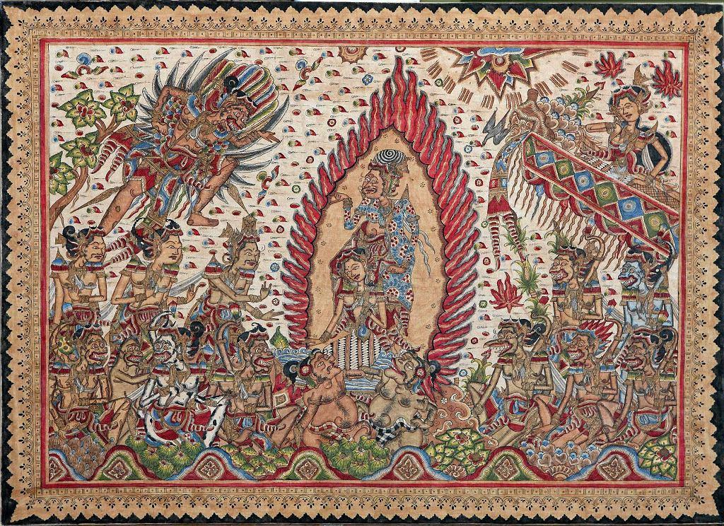 'Porwanie Sity', anonimowy malarz z Kamasan, 1990-2010. Wystawa 'Magia i sztuka Bali'. /  'Porwanie Sity', anonimowy malarz z Kamasan, 1990-2010. Wystawa 'Magia i sztuka Bali'.
