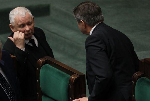 Sejm - grudzień 2018 roku. Jarosław Kaczyński i Marek Kuchciński