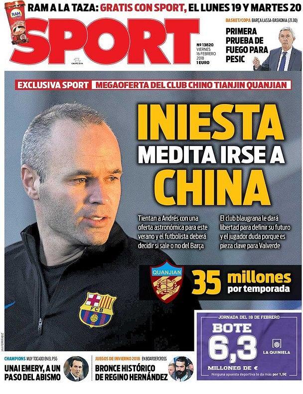 Okładka katalońskiego 'Sportu'
