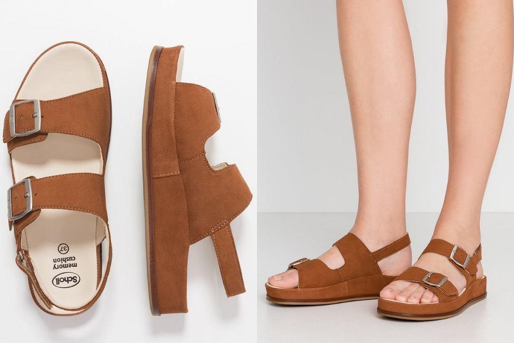Brązowe sandały z paskami