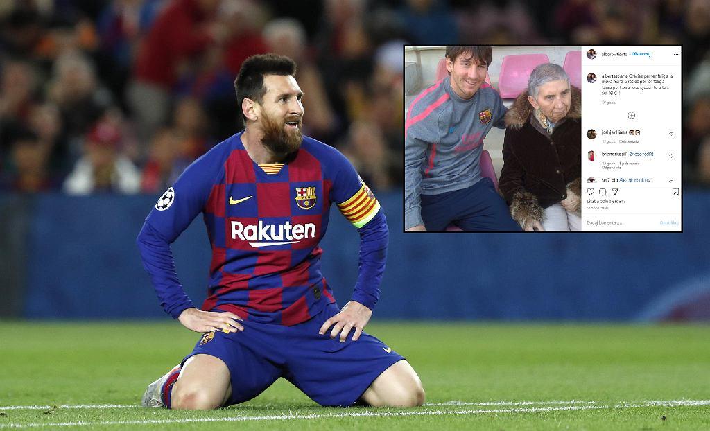 Leo Messi i zdjęcie ze starszą kobietą