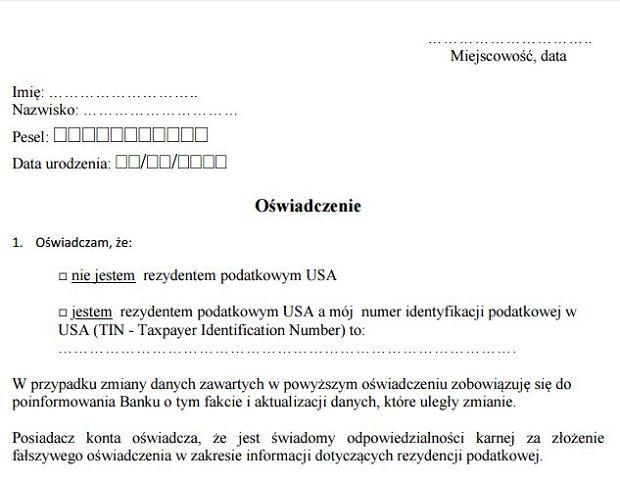 Oświadczenie FATCA