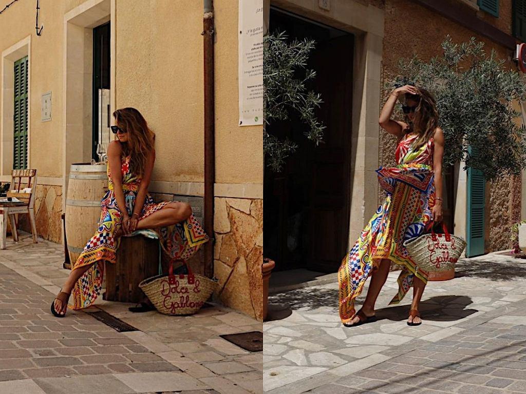 Anna Lewandowska w kolorowej sukience