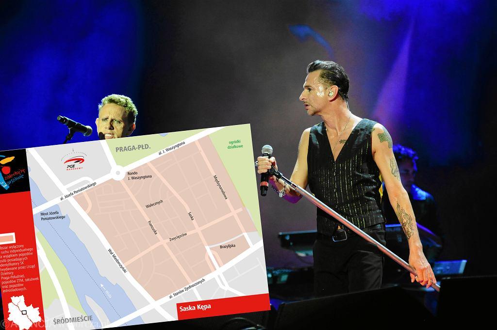 Koncert Depeche Mode na Stadionie Narodowym w 2013 r. i zamknięta strefa na Saskiej Kępie